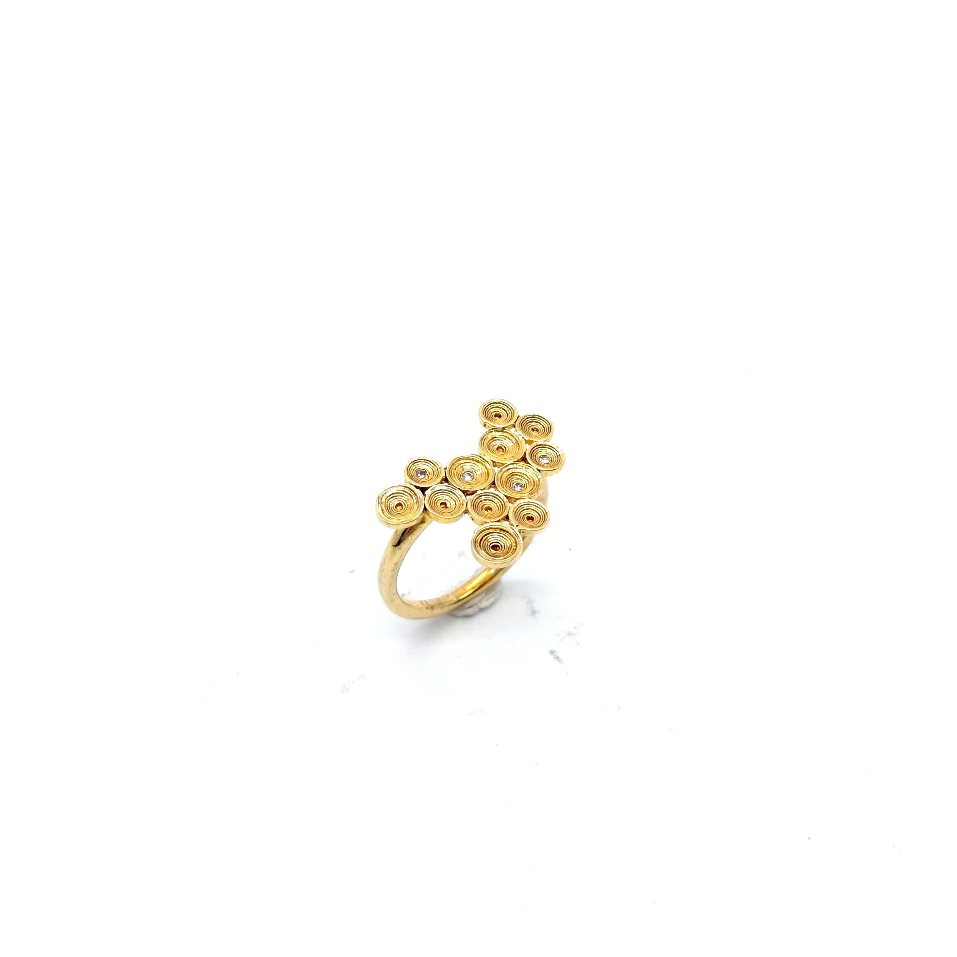 Silver ring 925 goldplated with white synthetic stones