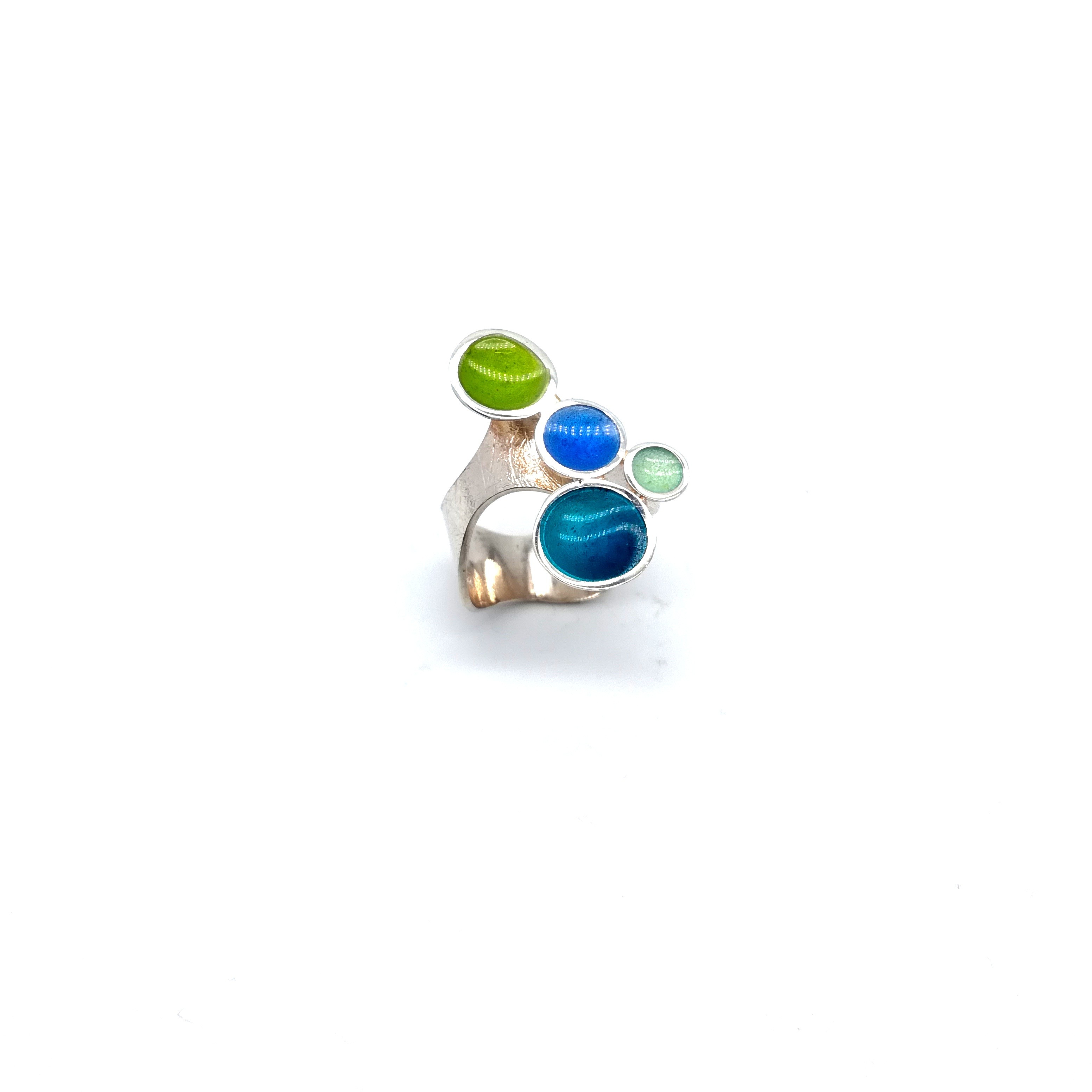 Silver ring 925 enameled with light blue and light green colors