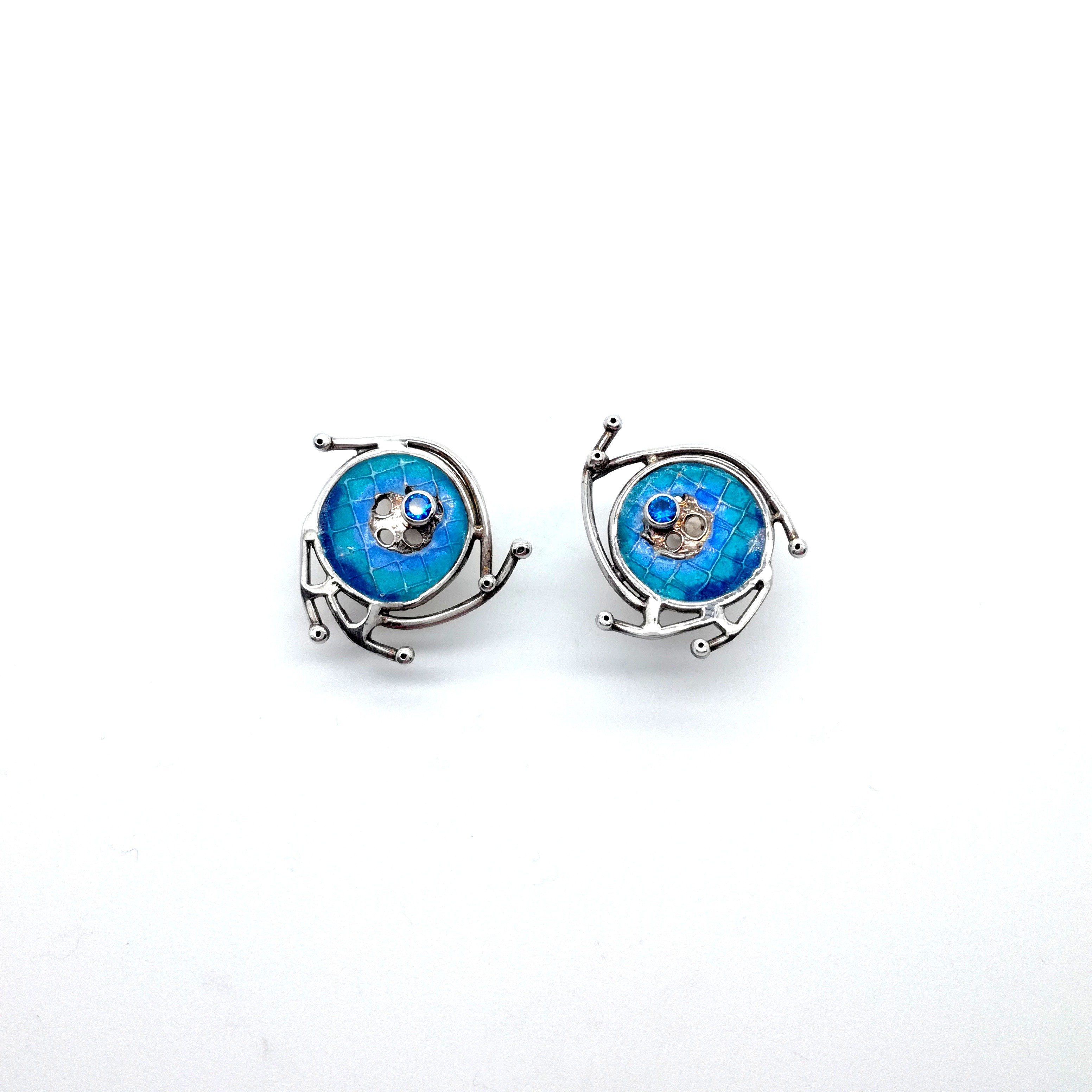 Silver earrings 925 with enamel and synthetic stones