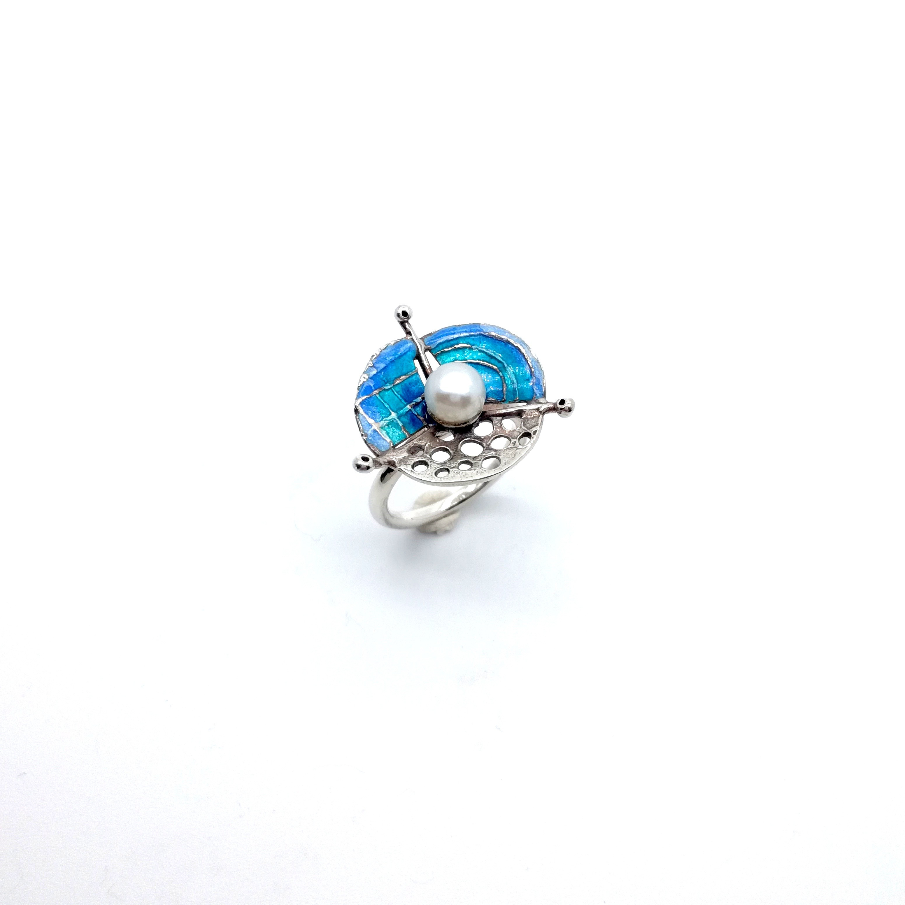 Silver ring 925 enameled with blue colors
