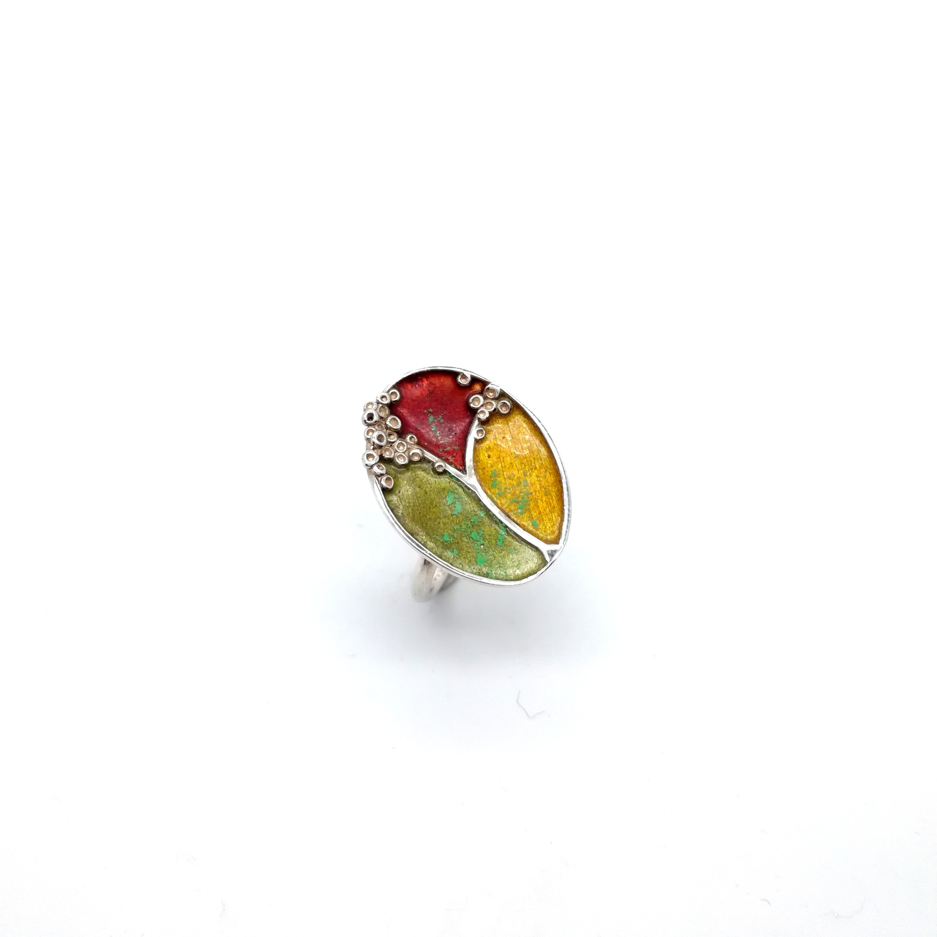 Silver ring 925 enameled with brown colors