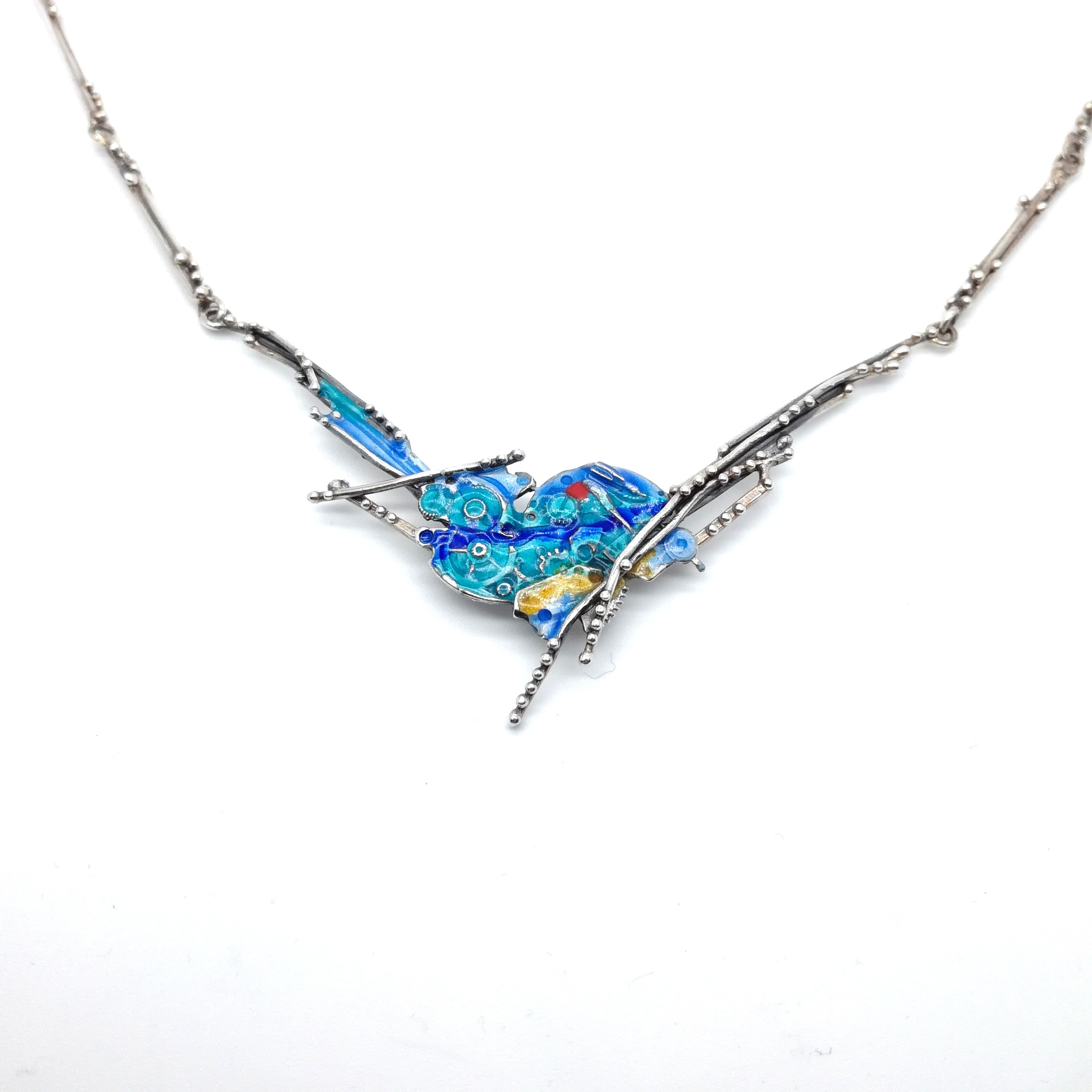 Silver necklace 925 enameled
