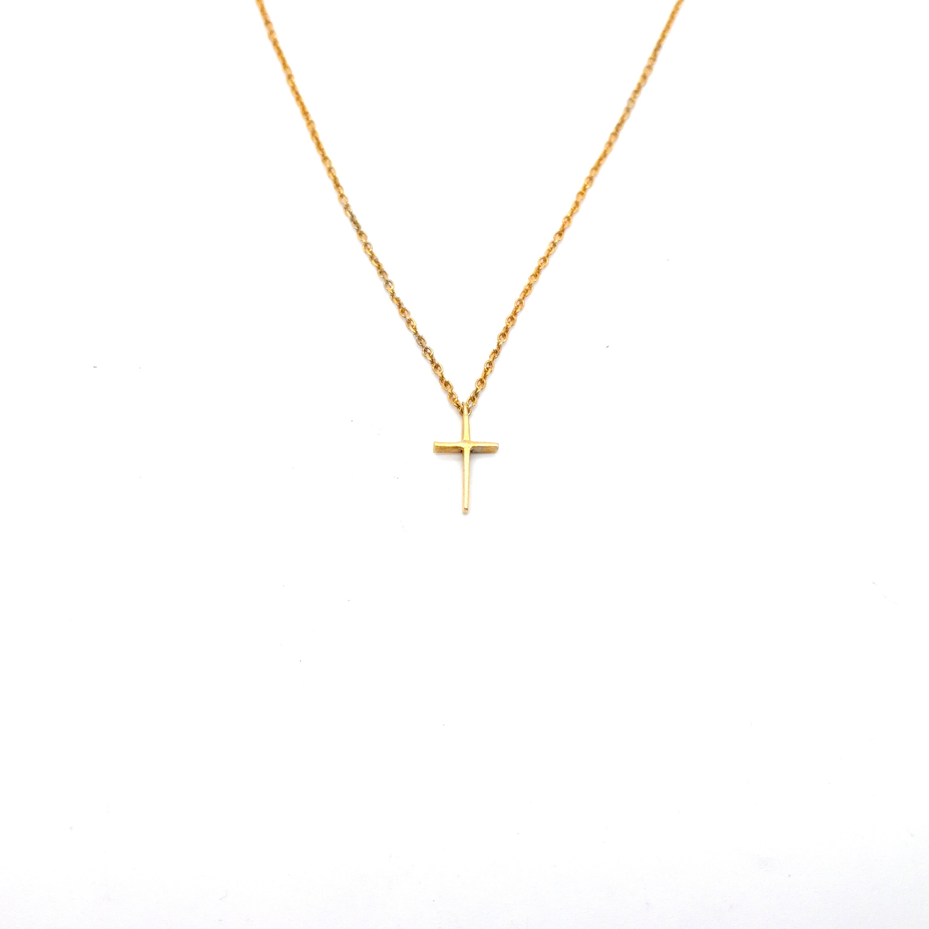 Gold or white gold cross 14K or 18K with pearl